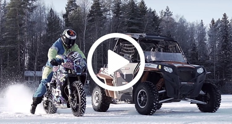 Suzuki GSXR vs Quad on ICE
